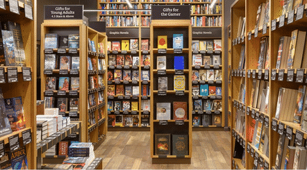 L'intérieur de la boutique Amazon books à Seattle