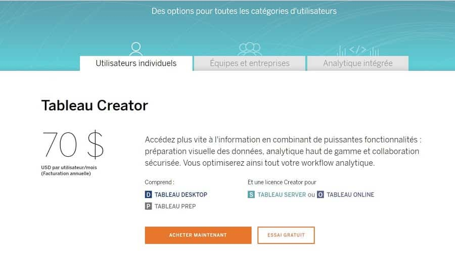 tableau software tarif