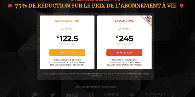 Description de l'offre black friday 2019 de pCloud