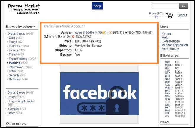 facebook compte dream market
