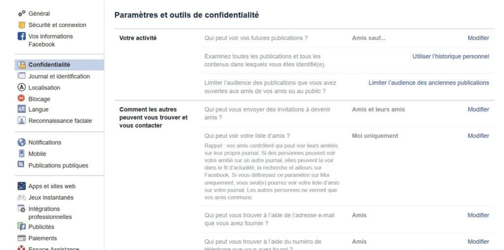 facebook paramètres confidentialité