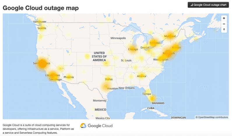 google cloud panne carte