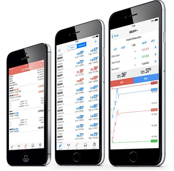 MetaTrader 4 iPhone différents onglets